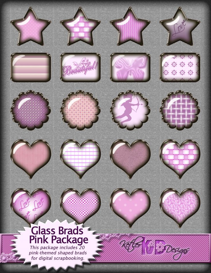 Glass Brads Pink Hearts, Flowers, Stars and Rectangles for Digital Scrapbooking - available for purchase on Etsy.