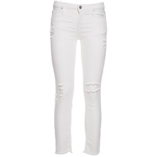 Torn Jarod Jeans ($116) ❤ liked on Polyvore featuring jeans, ecru, womenclothingjeans, 5 pocket jeans, distressing jeans, white distressed jeans, ripped patched jeans and destruction jeans