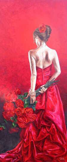 Roses in fashion, 220x100 cm, oil on canvas