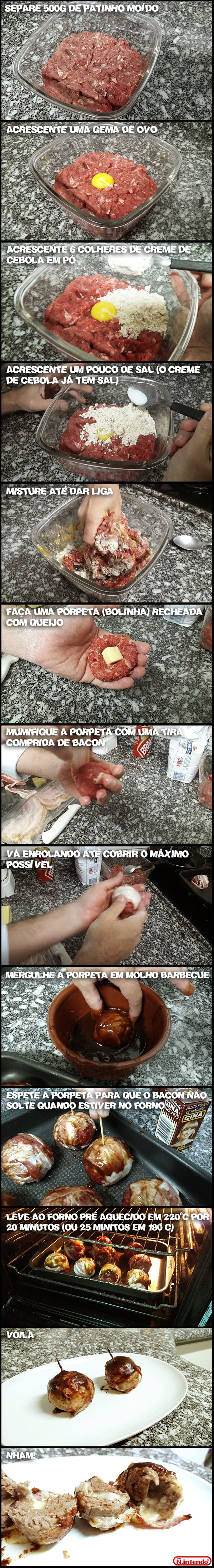 Porpetas mumificadas no bacon