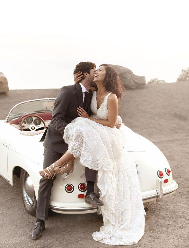 Santa Barbara elopement. Dreamy wedding gown by Shareen Vintage