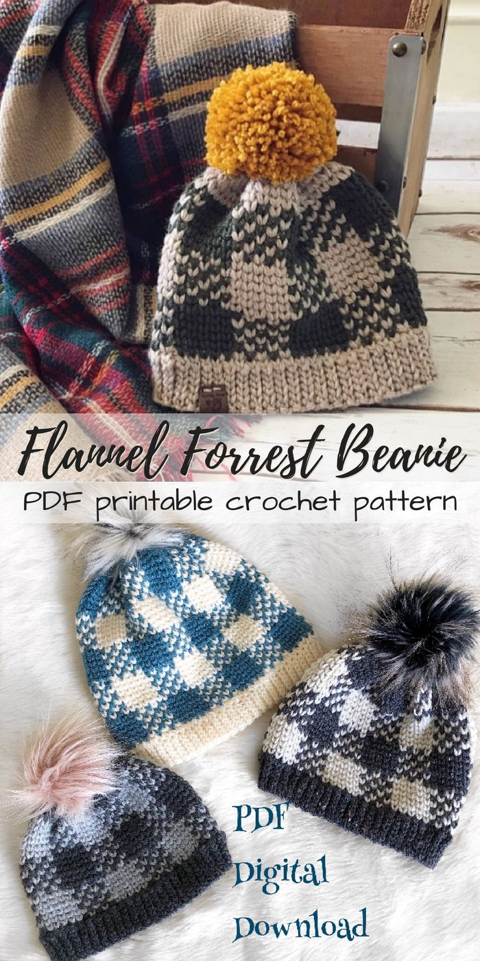 Can you believe this hat is crocheted??? I love it! What a neat way to make a plaid pattern in crochet! So great! I think these would look fantastic with fur pompoms! #etsy #ad #pdf #crochet #pattern #instant #download #printable #beanie #wintercap #toque