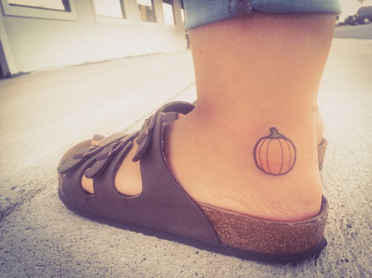 Cute little pumpkin tattoo.