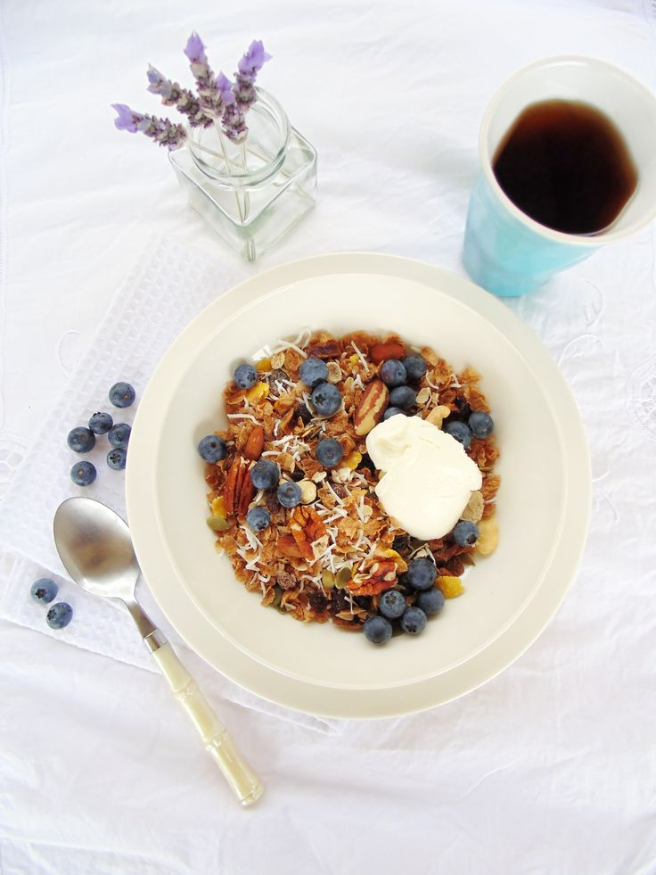 This coconut and blueberry muesli is a tasty and nutritious way to start your day. Whip up a batch now ready for breakfast tomorrow ;)
