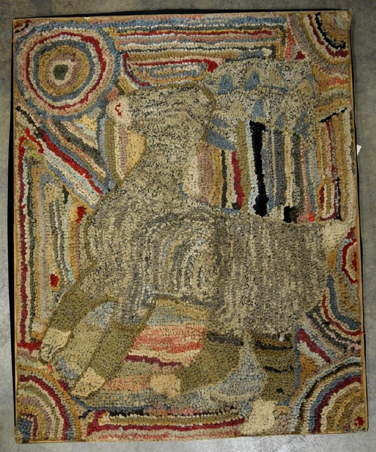 Folk art pictorial hooked rug depicting a portrait of a lamb, Lot Number: 0320, Starting Bid: $100, Auctioneer: Hyde Park Country Auctions, Auction: COUNTRY AMERICANA & PRIMITIVES SALE, Date: January 7th, 2017 CST