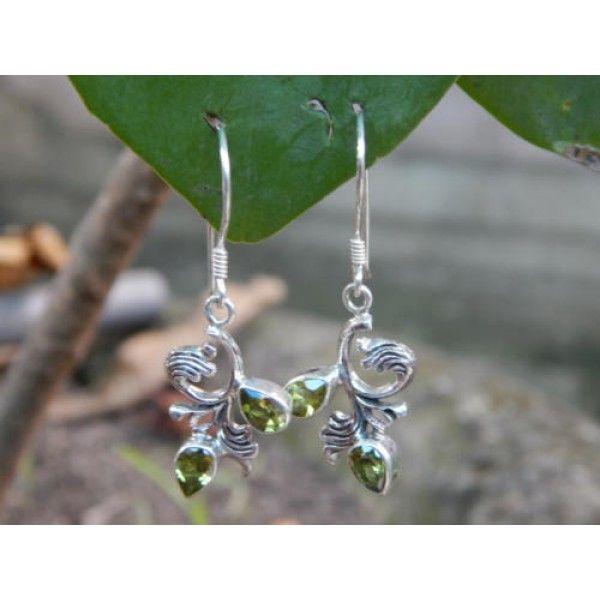 Silver And Stone Peridot Earrings
