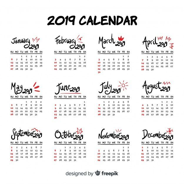 Download Modern Hand Drawn 2019 Calendar Template For Free