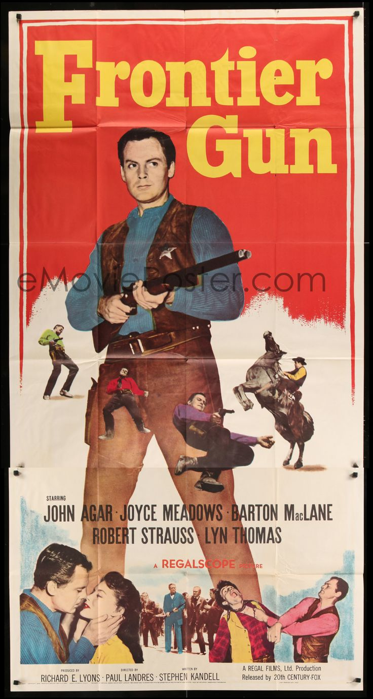 eMoviePoster.com Image For: 7t723 FRONTIER GUN 3sh 1958 art of John Agar pointing gun, Joyce Meadows, Barton MacLane!
