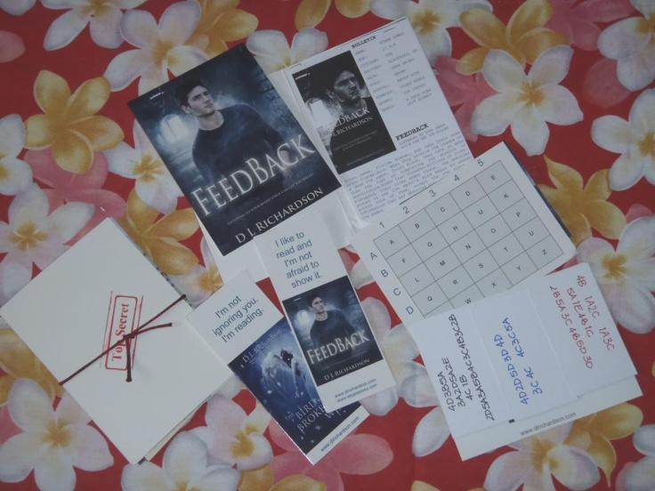 A photo of the Feedback promo items given away via book blog tours and mailed with media releases to some magazines and newspapers.