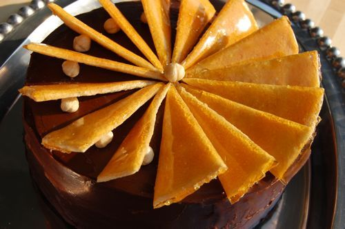 Dobos Torte recipe. Amazing cake! It's a Hungarian torte. Gotta go back to my roots. ;)