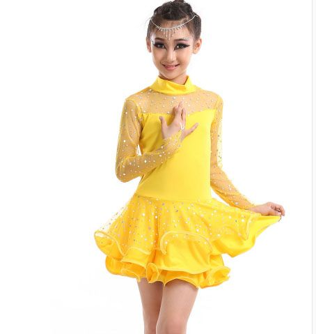 new kids long mesh sleeve latin Rumba cha cha salsa tango vestido latino Latin dance dress competition  yellow pink red black #Affiliate