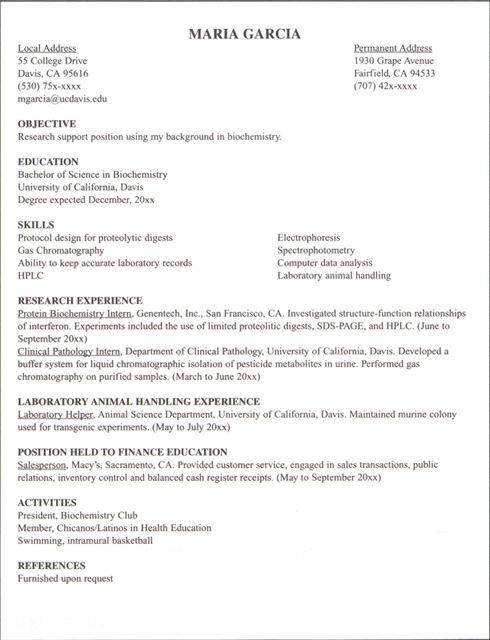 internship resume example - Google Search
