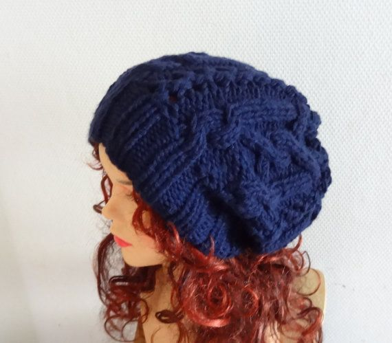 Handmade Knit Cable Hat Beanie Slouchy Hat Beanie Large by Ifonka, $28 ...