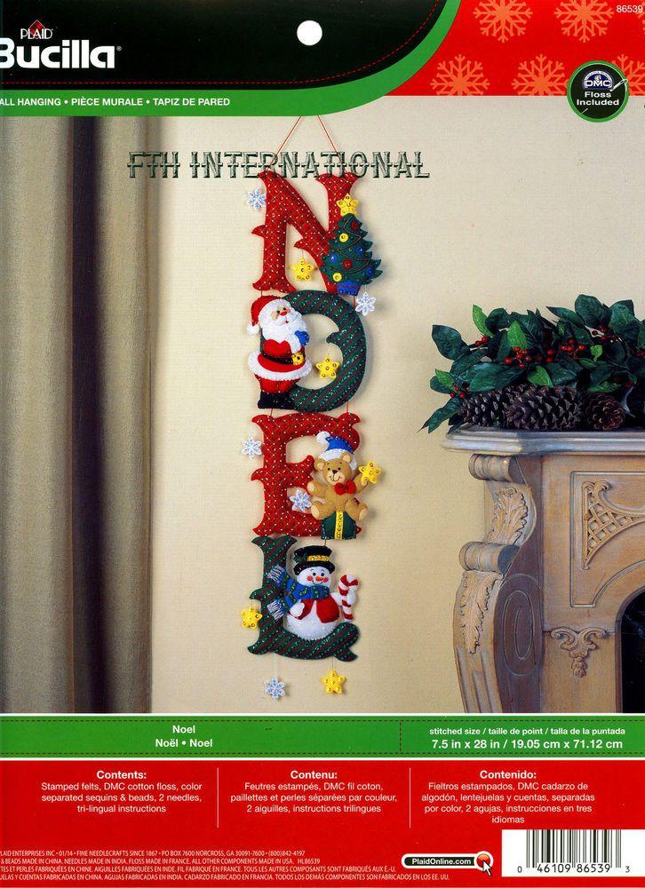 Bucilla NOEL ~ Felt Christmas Wall Hanging Kit #86539, Santa, Frosty, Teddy Bear in Crafts, Needlecrafts & Yarn, Embroidery & Cross Stitch | eBay!