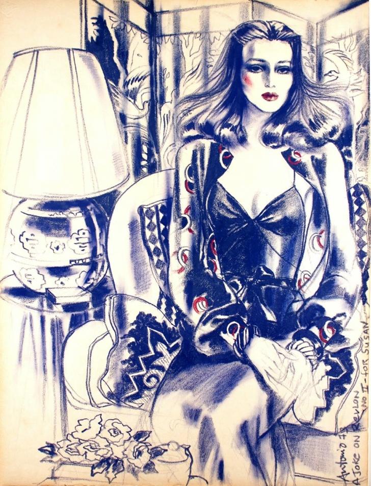 "Illustration by Antonio López (1943–1987, Puerto Rican), 1 9 7 3, ""A Joke on Revlon No. II--for Susan""."