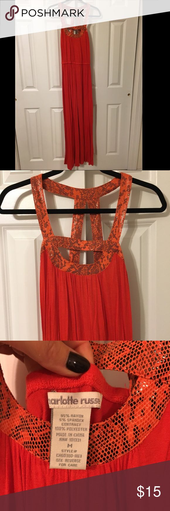 Orange maxi dress with snake print detail straps Orange maxi dress with snake print detail straps Charlotte Russe Dresses Maxi