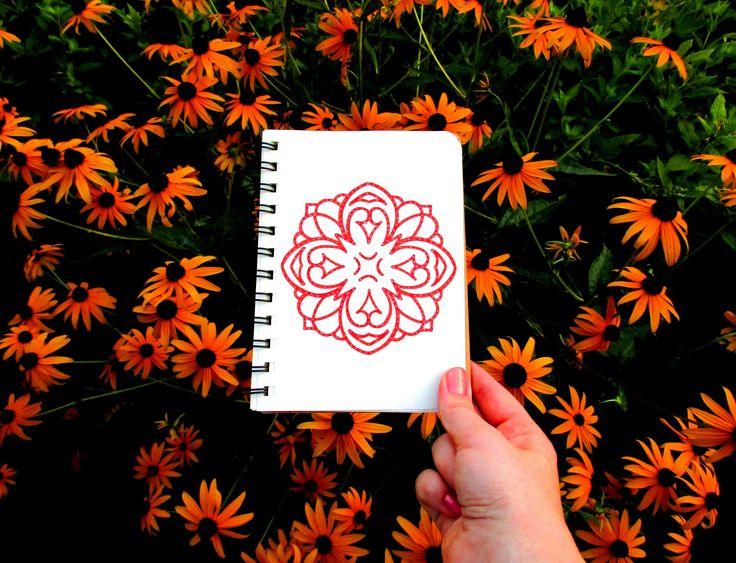 #оранжевый #блокнот #рисунок #узор #цветы