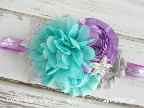 Teal & Lavender Mermaid Fabric Flower | baby, girl, newborn, hair, accessories, bow, toddler, little, purple, aqua, mint, silver, photography prop, photo prop