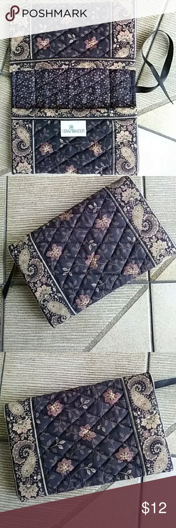 """Just in! VERA BRADLEY Quilted Checkbook VERA BRADLEY Checkbook Holder. Also ideal as a small notebook, planner or  journal cover. Quilted in lovely leaf and floral patterned cotton. Perfect fall and winter colors. Pockets either side and black ribbon page marker. Preloved, EUC. Black, brown, dusty rose, tan, green. Approx folded measure: 7.5"""" x 5"""" x 1"""" Vera Bradley Accessories"""