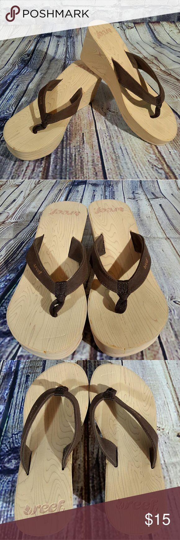 Reef size 7 wedges Excellent, like new condition Reef wedges. These have very little wear as shown. Wedge is 3 inches. Light brown base with dark brown straps. Size 7. Reef Shoes Wedges