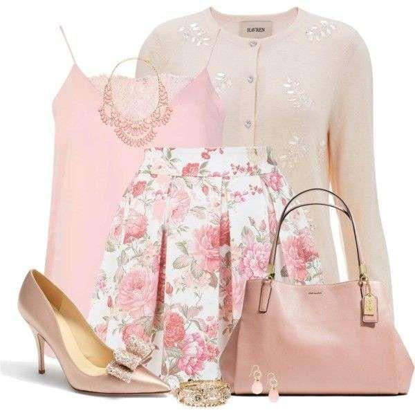 Look rosa cipria - Uno dei colori di tendenza della primavera 2014 è il rosa cipria e le sfumature confetto più romantiche: ecco un look da giorno bon ton in questa tinta. Tantissime collezioni vogliono tra le loro protagoniste gonne a ruota con base in rosa, ecco come abbinarle a top in una tinta tenue, cardigan, scarpe e borsa in coodinato. Vi piace questo look da giorno?