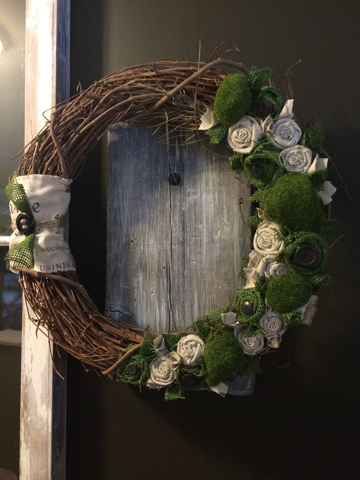 """18"""" grapevine wreath with moss and burlap rosettes #grapevine wreath #burlap #moss"""