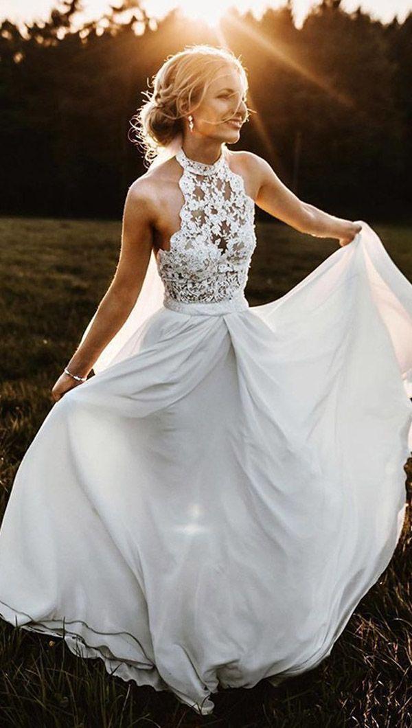 A Line Halter Sleeveless Chiffon Long Beach Wedding Dress With