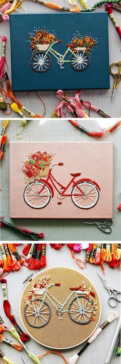 interesting idea, these projects look to be stitched right onto painter's canvas that has been painting to a nice background color.  Hmmm - - - Modern Embroidery by TrueFort | bicycle embroidery | embroidery ideas | hoop art | creative hoop art