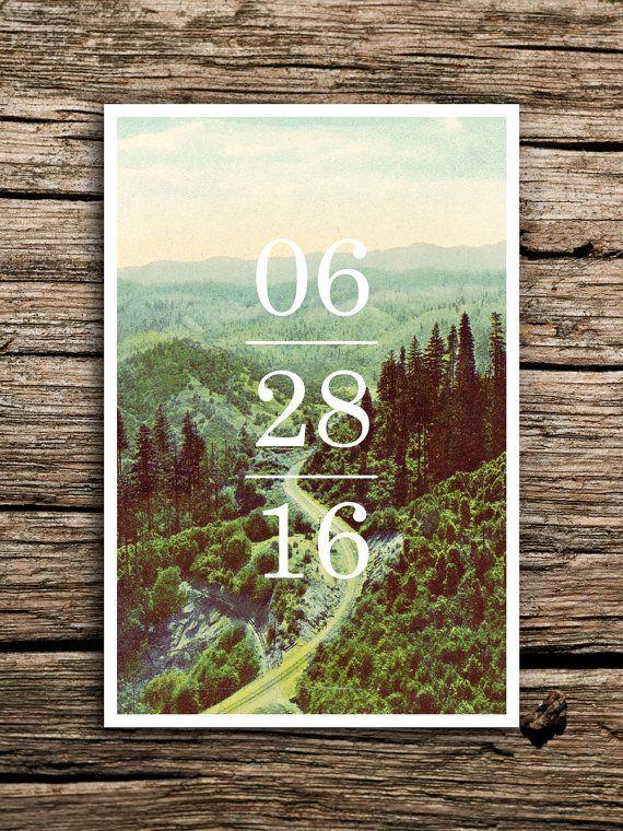 Mountain Road Vintage Postcard Save the Date // Mountain Save the Date Minimal Wedding Pacific Northwest California Oregon Washington