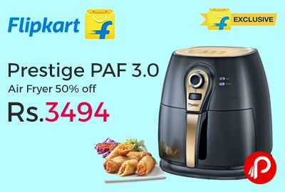 Flipkart Exclusive is offering 50% off on Prestige PAF 3.0 Air Fryer at Rs.3494. Enjoy the health benefits of oil-free cooking by using this air fryer from Prestige. Now you can have fried food without worrying about your cholesterol level. Fry, grill, roast, bake, Chips, snacks, meat, etc. can now be cooked without oil in this air fryer.   http://www.paisebachaoindia.com/prestige-paf-3-0-air-fryer-50-off-just-at-rs-3494-flipkart/