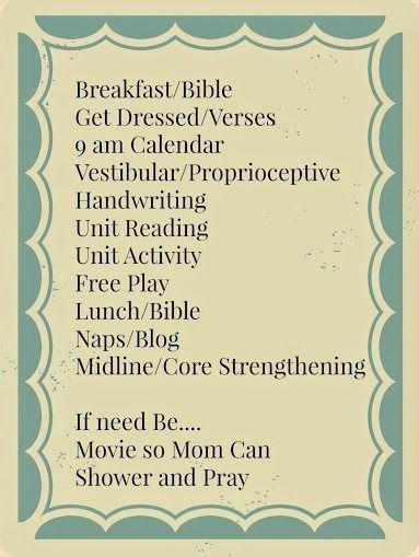 Home school Preschool Schedule for a kid with spd