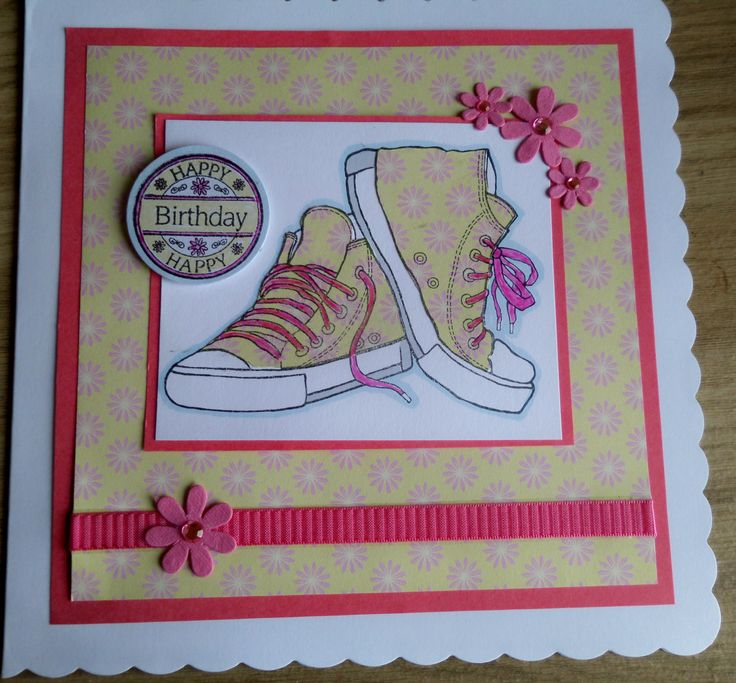 Teenage girl birthday card with funky yellow and pink trainers or converse style shoes ! Stamps by Woodware