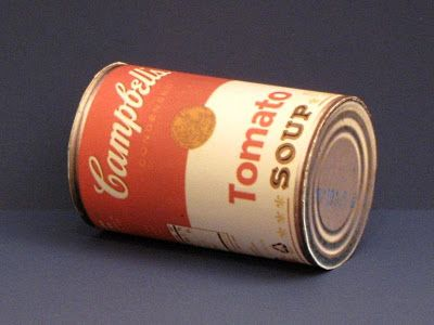 "Campbell's Soup Can Papercraft | Tektonten Papercraft. Click on ""here"" for free template."