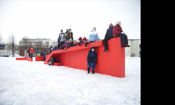 Oulu Finland, Saunders Architecture.  Never forget, if you get lost, leave it to the kids to find the fun again.