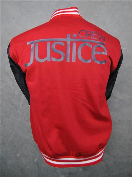 Justice Crew custom baseball jackets red and blue denim sleeves