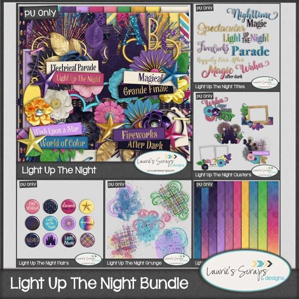 Light Up The Night Digital Scrapbook Bundle! This bundle is perfect for your Night time Disney layouts or for fireworks layouts!