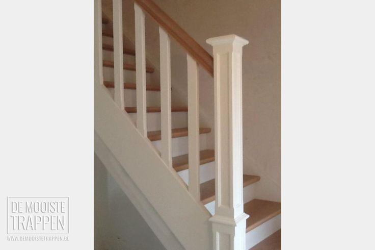 Gesloten cottage trap in wit met hout de mooiste trappen for Trap hout wit
