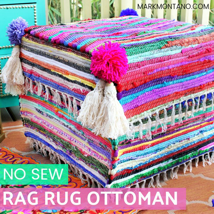 Makeover an old ottoman with 99c store rag rugs and E-6000 Fabri-Fuse fabric glue!