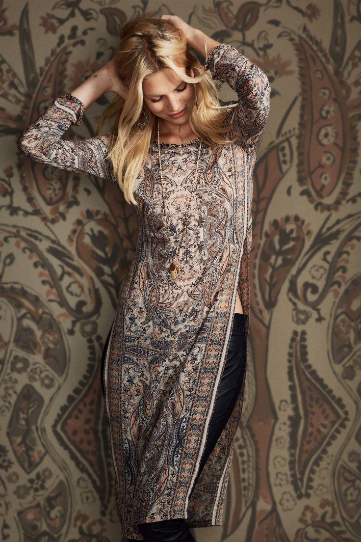 East/West Fusion! Love it! Printed Stretch Silk Tunic Dress | Calypso St. Barth