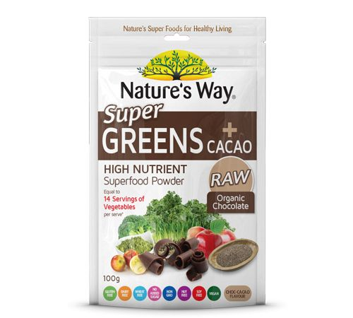 Super Greens plus Cacao is the worlds healthiest chocolate milkshake. Packed with the antioxidant equivalent of 14 serves of vegetables* in each serve, eating your greens never tasted so good!