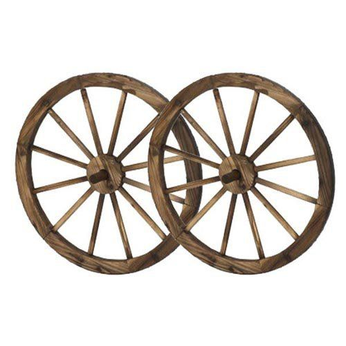 HGC Steel Rimmed Wooden Wagon Wheel Wall Decor - Set of 2 - PL50019