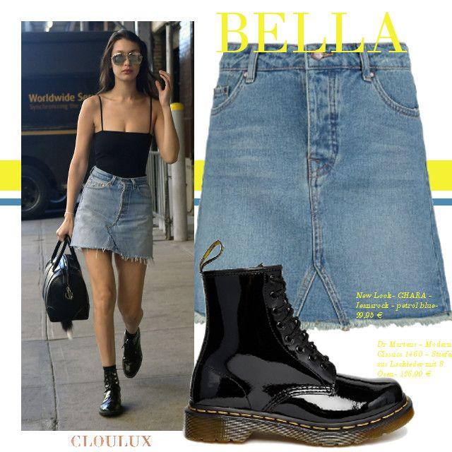 Bella Hadid trägt einen A-Line Denim Rock und dazu schwarze Biker Stiefel!