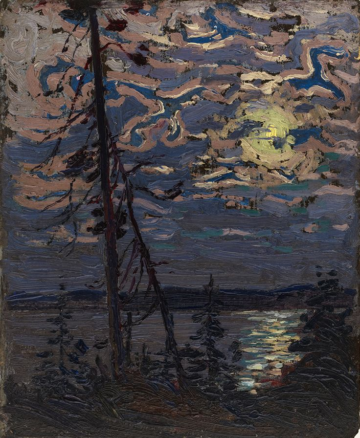 "Here, in a vertical sketch of similar size as ""Pine Trees at Sunset,"" (1915) Thomson captures another natural event – the tranquil beauty of a moonlit night. ""Moonlight,"" c. 1913–14, private collection."