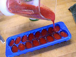 Het invriezen van aardbeien doen wij altijd in een ijsblokjesvorm of in weckpotjes.U kunt metbevroren aardbeien drankjes en smoothies maken en veel meer.... Deze aardbeienblokjes zijn ook lekker als een mini-ijsje voor kinderen.U kunt dan stokjes in de aardbeienmoes steken. Laat daarvoor de aar