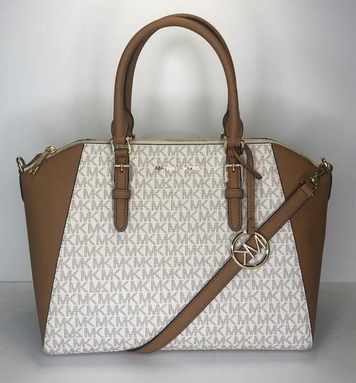 8eb6477a0d35 Save big on the Michael Kors Ciara Large Signature Mk Vanilla/Acorn Leather  Satchel! This satchel is a top 10 member favorite on Tradesy.
