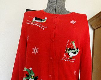 Ugly Christmas Sweater Small Cheap Jumper  Tacky, Gaudy, Novelty, Holiday, Party, K8