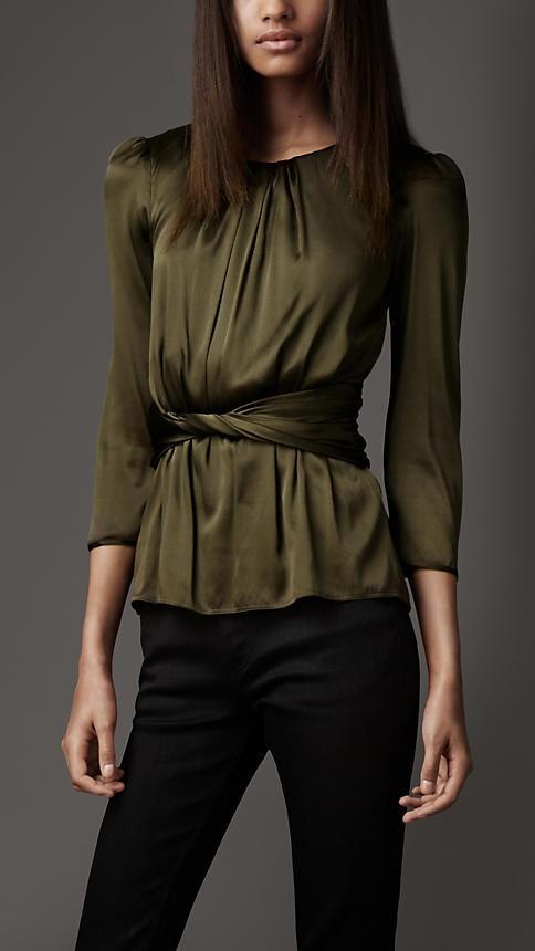 Make hazel eyes pop-- my favorite color. Burberry London Stretch-Silk Shirt 110614