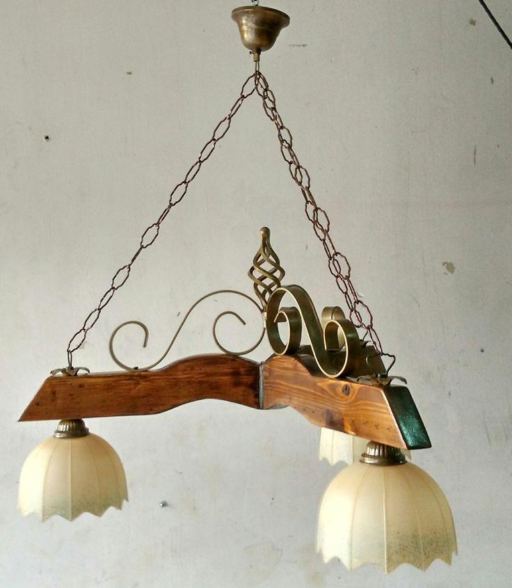 Lampadario rustico ferro battuto legno con coppette in vetro di ArtArtigianato su Etsy