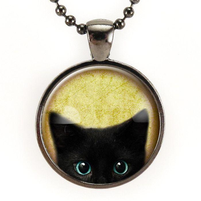 Peeking Black Cat Necklace In Gunmetal Black