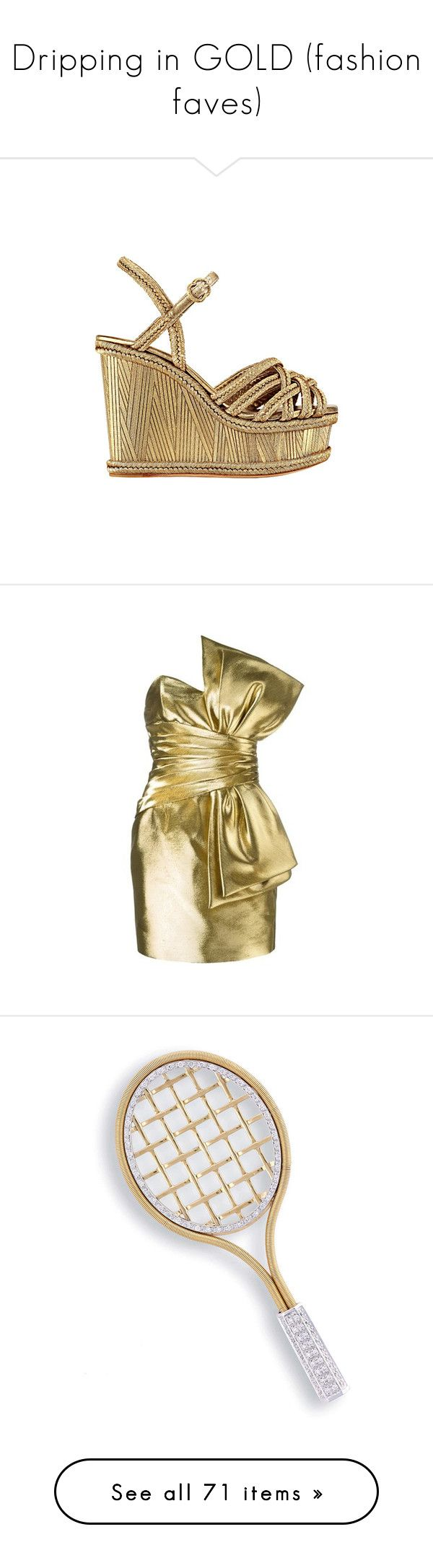 """""""Dripping in GOLD (fashion faves)"""" by liddy-white ❤ liked on Polyvore featuring shoes, wedges, chanel, heels, scarpe, chanel shoes, wedge sole shoes, chanel footwear, wedges shoes and dresses"""